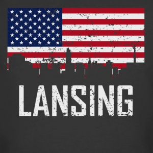 Lansing Michigan Skyline American Flag Distressed - Men's 50/50 T-Shirt