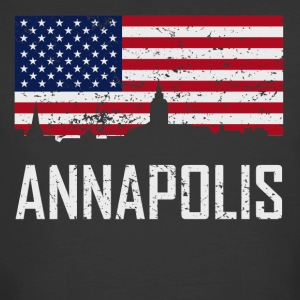 Annapolis Maryland Skyline American Flag - Men's 50/50 T-Shirt