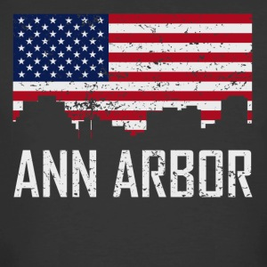 Ann Arbor Michigan Skyline American Flag - Men's 50/50 T-Shirt