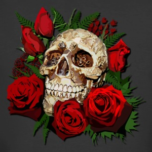 Sugar skull and Red Roses - Men's 50/50 T-Shirt