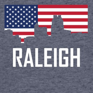 Raleigh North Carolina Skyline American Flag - Men's 50/50 T-Shirt