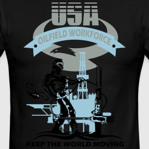 USA Oil Rig Workforce Keep The World Moving - Men's Ringer T-Shirt