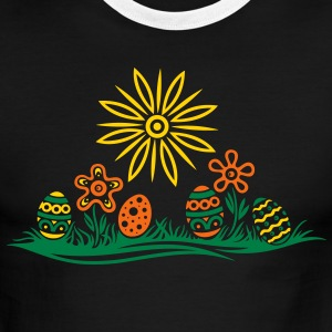 Easter eggs and flowers, meadow - Men's Ringer T-Shirt