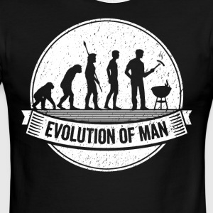 Funny Griller: Graphic Grillers Evolution BBQ Tee - Men's Ringer T-Shirt