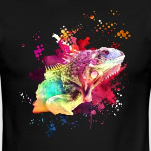 İguana Watercolor Tee Shirt - Men's Ringer T-Shirt