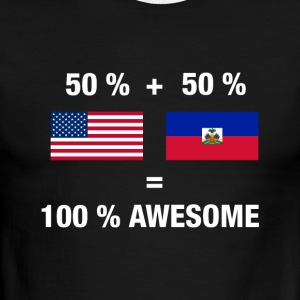 Half Haitian Half American 100% Awesome Flag Haiti - Men's Ringer T-Shirt