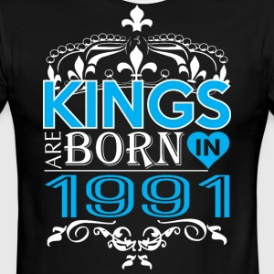 Kings Are Born In 1991 Happy Fathers Day - Men's Ringer T-Shirt