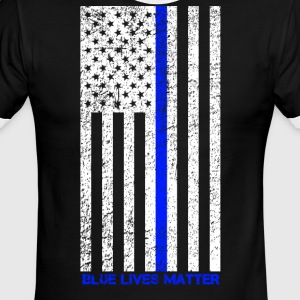 Distressed Blue Lives Matter Tee - Men's Ringer T-Shirt