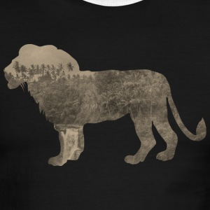 Silhouette Jungle Series Lion - Men's Ringer T-Shirt