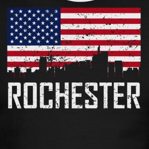 Rochester Michigan Skyline American Flag - Men's Ringer T-Shirt