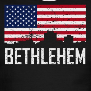 Bethlehem Pennsylvania Skyline American Flag - Men's Ringer T-Shirt