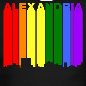 Alexandria Louisiana Gay Pride Rainbow Skyline - Men's Ringer T-Shirt