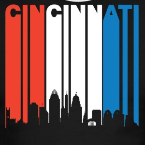 Red White And Blue Cincinnati Ohio Skyline - Men's Ringer T-Shirt