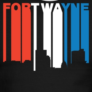 Red White And Blue Fort Wayne Indiana Skyline - Men's Ringer T-Shirt