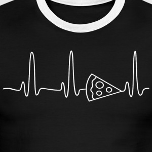 EKG HEARTBEAT PIZZA white - Men's Ringer T-Shirt