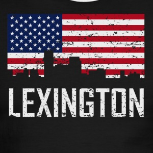 Lexington Kentucky Skyline American Flag - Men's Ringer T-Shirt