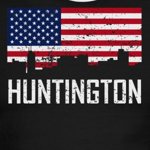 Huntington West Virginia Skyline American Flag - Men's Ringer T-Shirt