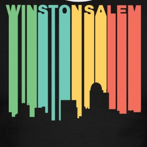 Retro 1970's Style Winston-Salem NC Skyline - Men's Ringer T-Shirt