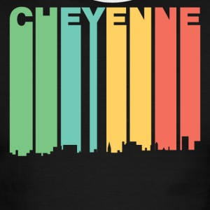 Retro 1970's Style Cheyenne Wyoming Skyline - Men's Ringer T-Shirt