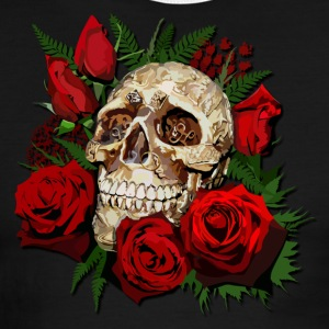 Sugar skull and Red Roses - Men's Ringer T-Shirt