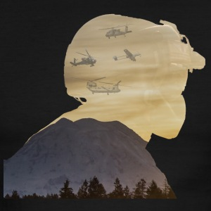 Crew Chief Silhouette with Mount Rainier - Men's Ringer T-Shirt