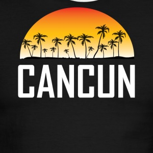 Cancun Mexico Sunset And Palm Trees Beach - Men's Ringer T-Shirt