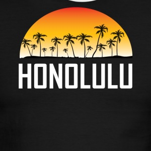 Honolulu Hawaii Sunset And Palm Trees Beach - Men's Ringer T-Shirt