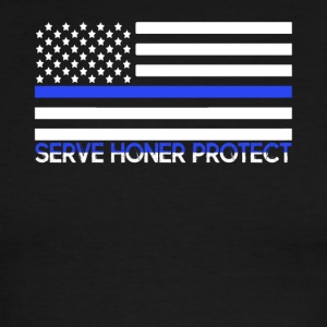 BLUE THIN LINE SHIRT - Men's Ringer T-Shirt