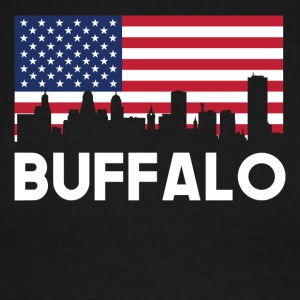 Buffalo NY American Flag Skyline - Men's Ringer T-Shirt