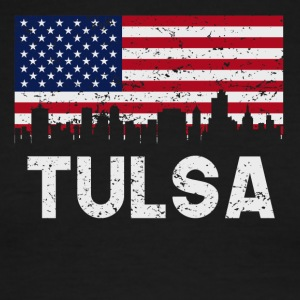 Tulsa OK American Flag Skyline Distressed - Men's Ringer T-Shirt