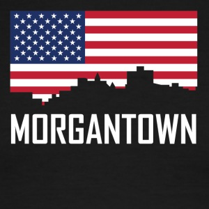 Morgantown West Virginia Skyline American Flag - Men's Ringer T-Shirt