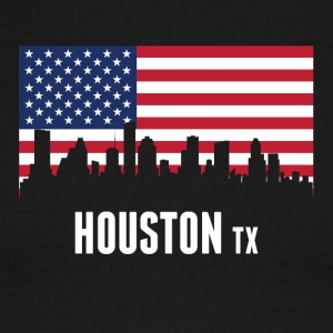 American Flag Houston Skyline - Men's Ringer T-Shirt