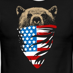 USA Flag Bear T-shirt - Men's Ringer T-Shirt