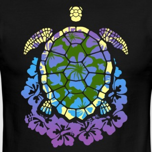 COLORED SEA TURTLE HIBISCUS SHIRT - Men's Ringer T-Shirt