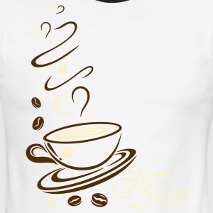 Coffee Cup with coffee beans and hearts. - Men's Ringer T-Shirt