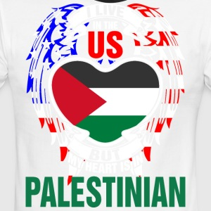 I Live In The Us But My Heart Is In Palestinian - Men's Ringer T-Shirt