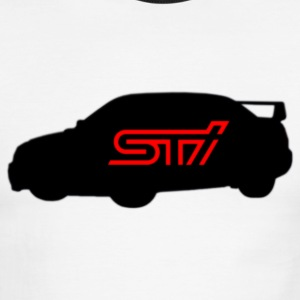 Subaru STI Logo Silhouette - JDM Sports Car - Men's Ringer T-Shirt