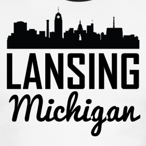 Lansing Michigan Skyline - Men's Ringer T-Shirt