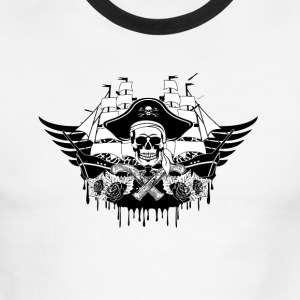 Cool pirate ship with skull - Men's Ringer T-Shirt