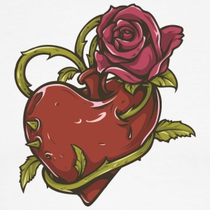 heart_and_red_rose - Men's Ringer T-Shirt