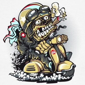 biker-scooter-cigar-cartoon-zombie-speed - Men's Ringer T-Shirt