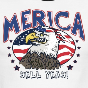 Merica Hell Yeah Patriotic Bald Eagle - Men's Ringer T-Shirt