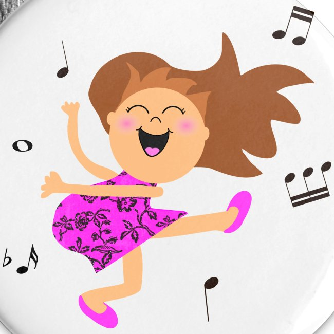 Inspirationz Store On Spreadshirt Com Cute Dancing Girl Cartoon In Hot Pink Dress Buttons Large 2 2 5 Pack
