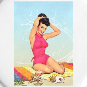 Girl in the sea, retro illustration - Large Buttons
