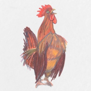 Drawn by hand rooster wake-up call - Large Buttons