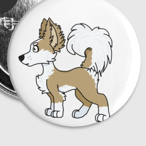 Long hair chihuahua cartoon profile - Small Buttons