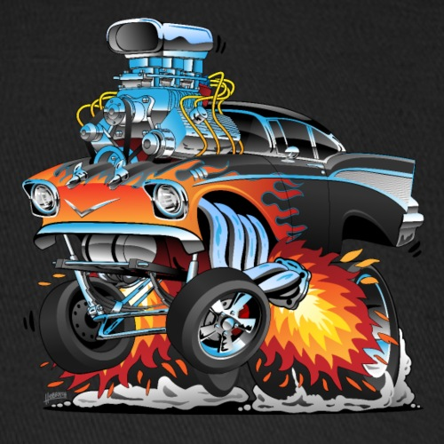 Classic hot rod 57 gasser dragster car cartoon - Baseball Cap