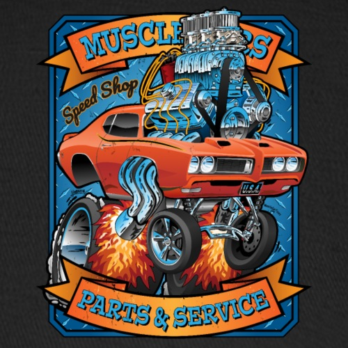 Classic Sixties Muscle Car Parts & Service Cartoon - Baseball Cap
