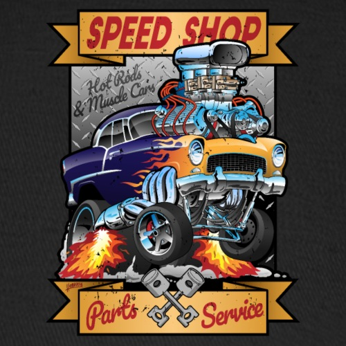 Speed Shop Hot Rod Muscle Car Cartoon Illustration - Baseball Cap