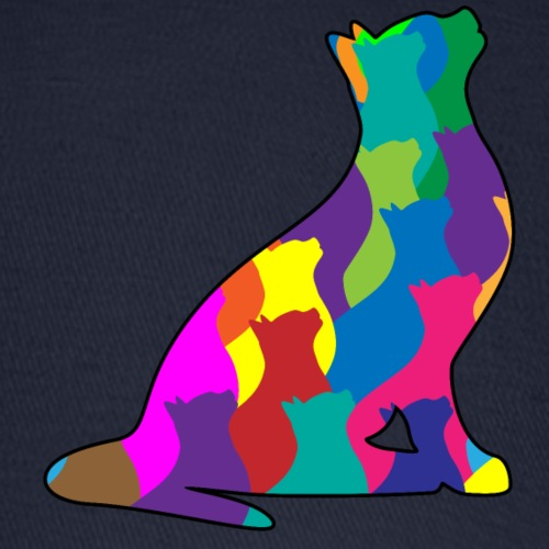 Colorful Cat Collage Silhouette - Baseball Cap